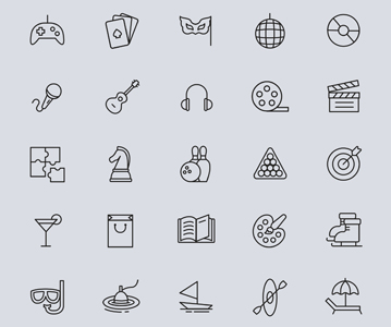 Free Download Elegant 25 Entertainment Line Icons