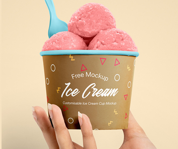 Freebie : Special Summer Ice Cream Cup PSD Mockup