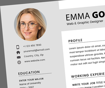 Free Professional Resume / CV With Cover Letter (PSD)
