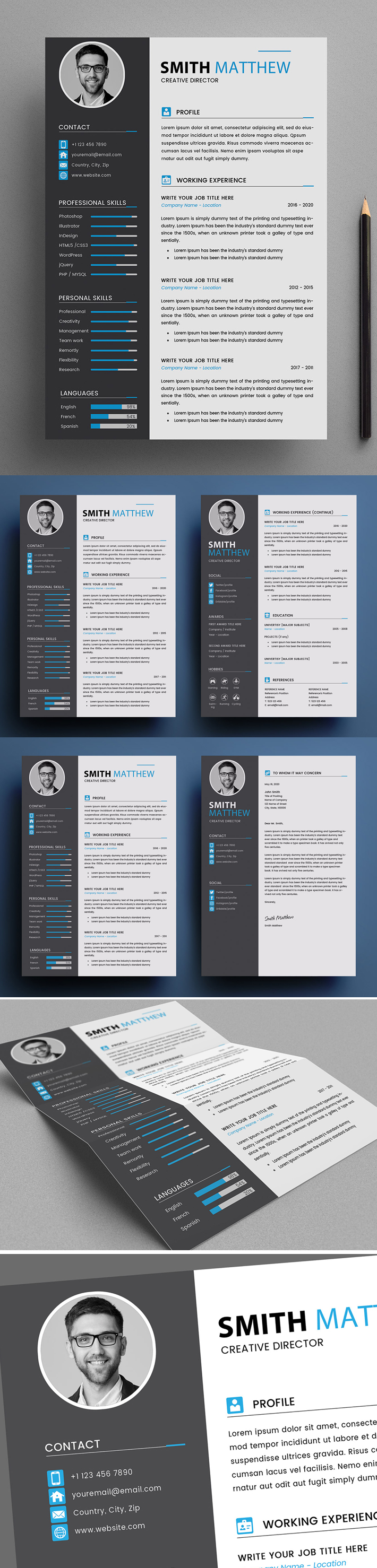 Free Creative 2 Page Resume / CV Template