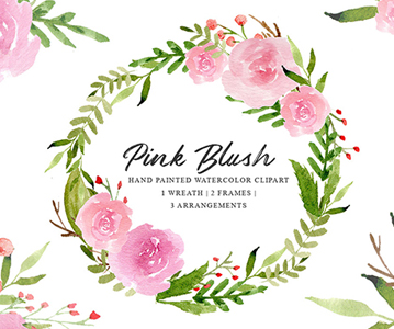 Free Hand Painted Floral Watercolor Graphics Set