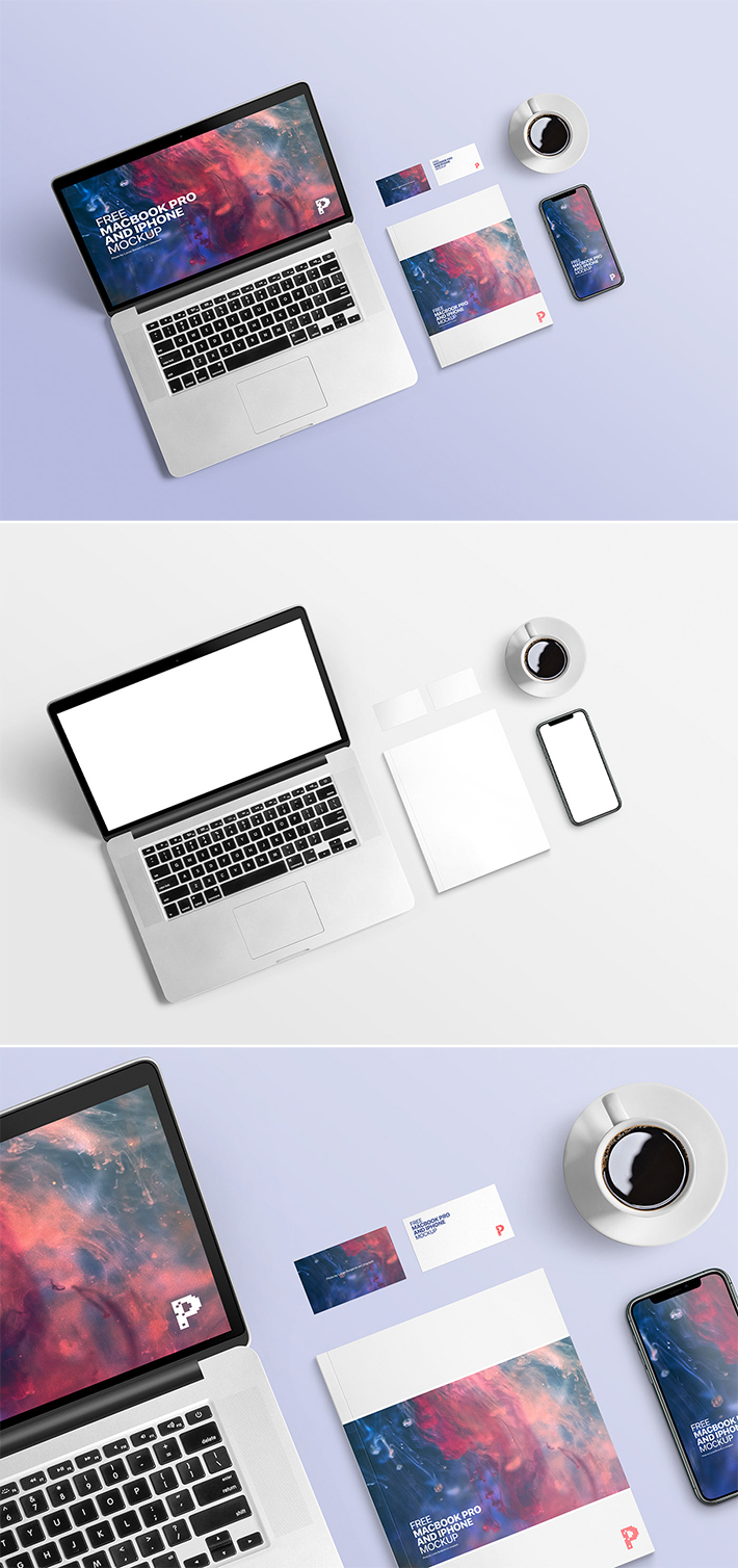 iPhone With MacBook Mockup