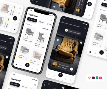 Free Elegant Furniture App Template (UI Design)
