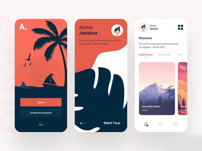 Minimal Travel App Design