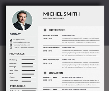Free Print Ready Resume / CV With Cover Letter