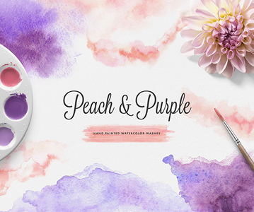 21 Peach & Purple Hand-painted Watercolor Textures
