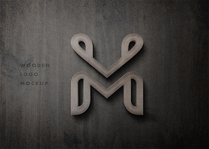 High Quality 3D Wooden Logo mockup