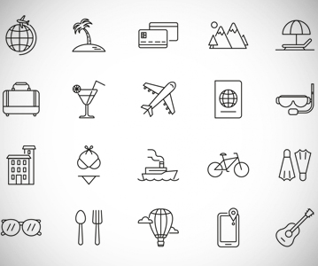 Free Awesome Vacation Line Icon Set (Vector)