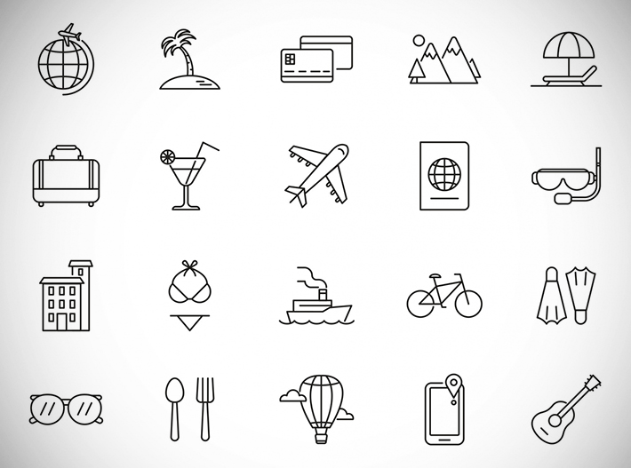 Awesome Vacation Line Icon Set