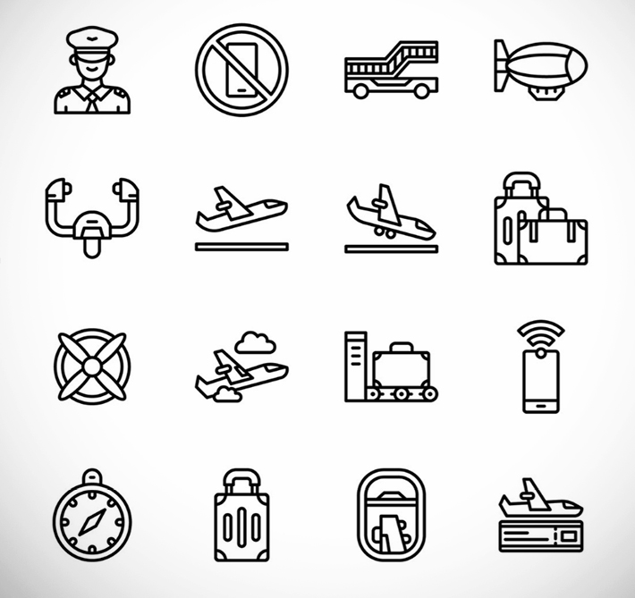 Creative Aviation Line Icons