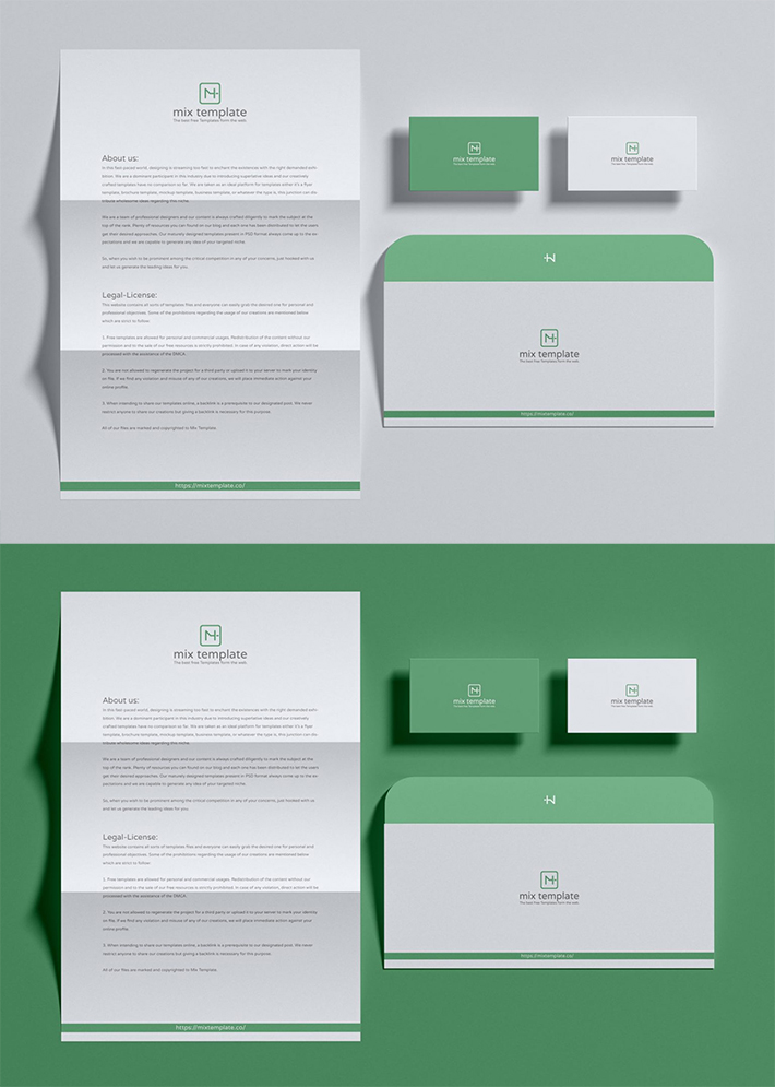 Free Simple Attractive Stationery Mockup
