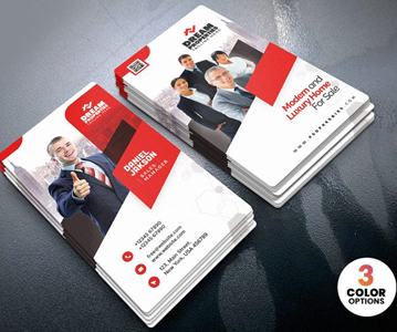 Free Attractive Vertical Business Card Template (3 Color Options)