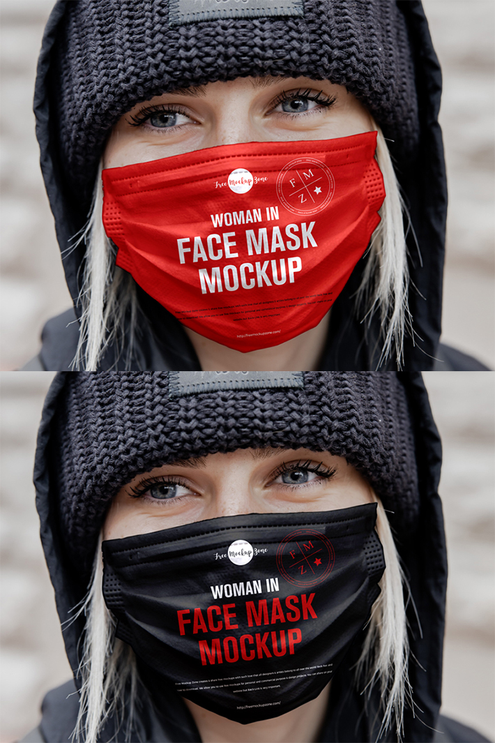 Creative Face Mask PSD Mockup