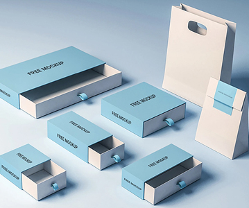 Free Attractive Best Blue Packing Boxes Mockups