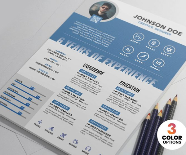 Free Minimal Creative Resume / CV Template (3 Color Options)