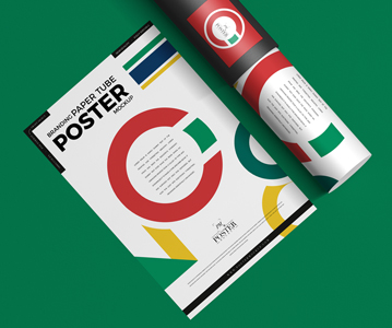 Free Download Simple Creative Poster Mockup With Paper Tube