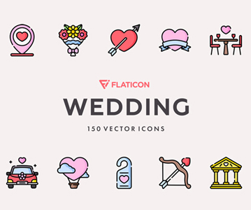 Free Collection of 50 Wedding Icons (Vector)