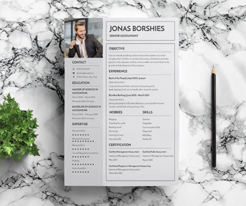 Free Creative Banking Resume / CV Template (PSD)