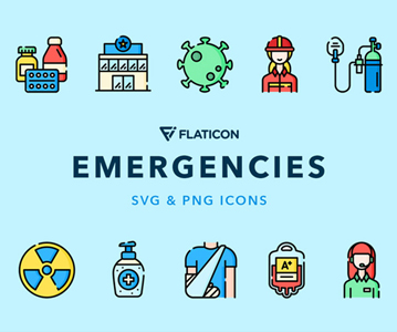 Free 50 Emergencies Icons (Vector)