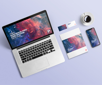 Awesome Free iPhone With MacBook Mockup