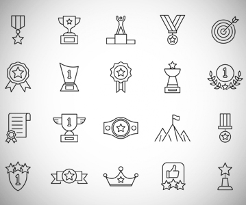 Free Awesome Achievement Line Icon Set (Vector Icons)