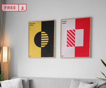 Free Elegant Hanging Posters on Wall PSD Mockup