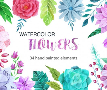 Free 34 Handpainted Watercolor Flowers For Designers