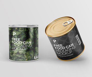 Freebie ; Creative Tin Can Packaging PSD Mockup
