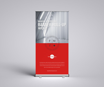 Perfect Attractive Advertising Roll-up PSD Mockup Free Download