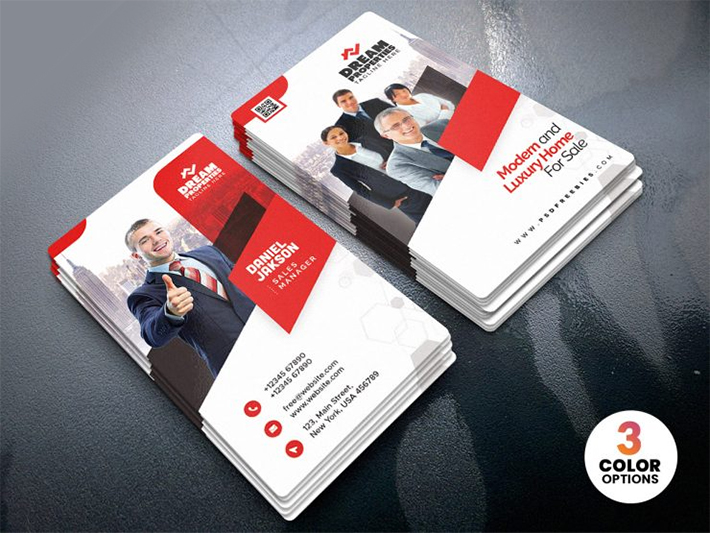 Attractive Vertical Business Card Template