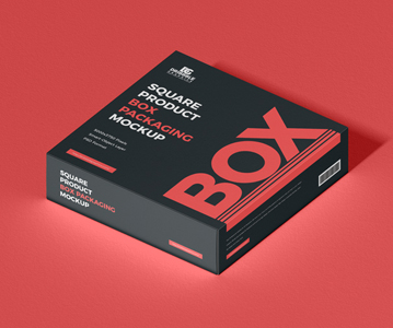 Freebie :  Awesome Square Packaging Box PSD Mockup