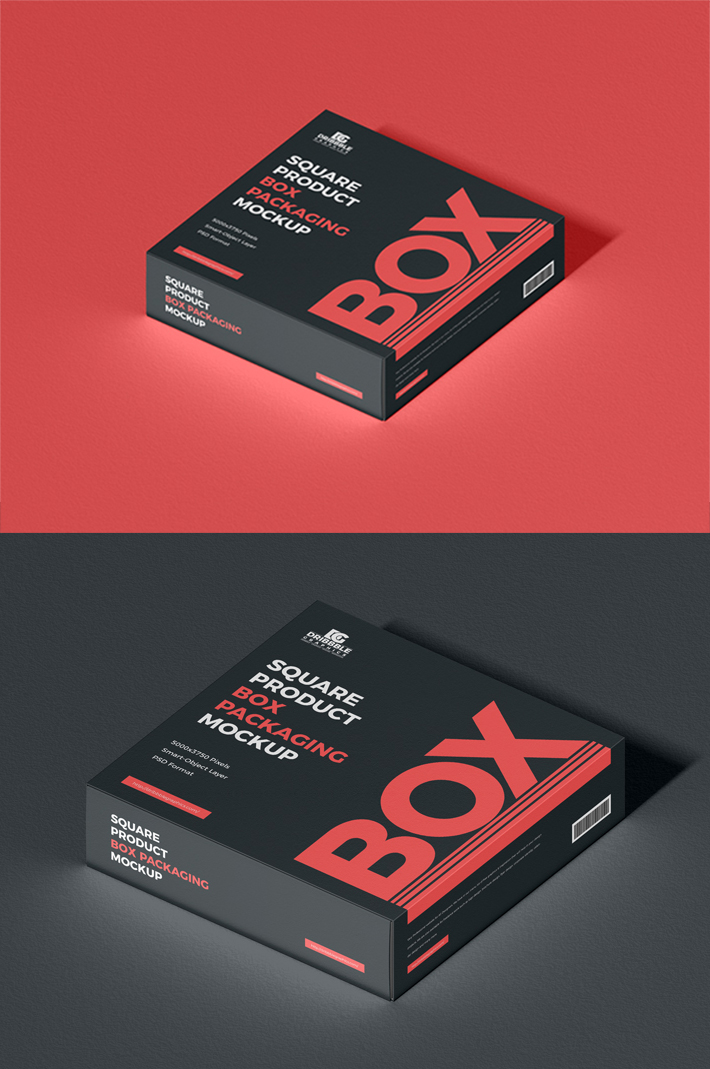Awesome Square Packaging Box PSD Mockup