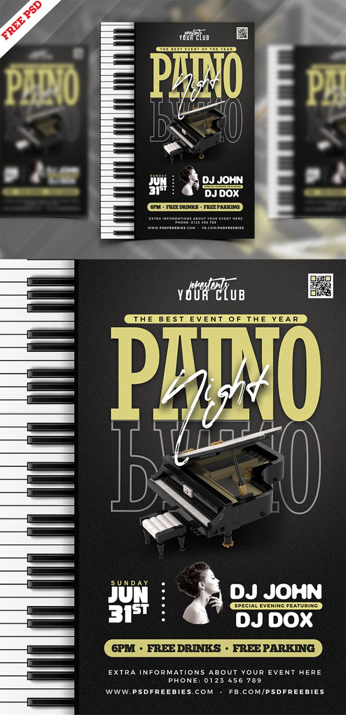 Attractive Piano Music Night Party Flyer Template