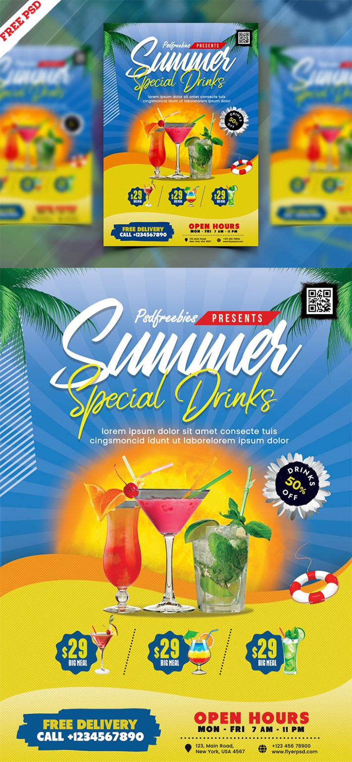 Awesome Summer Juice Menu Flyer