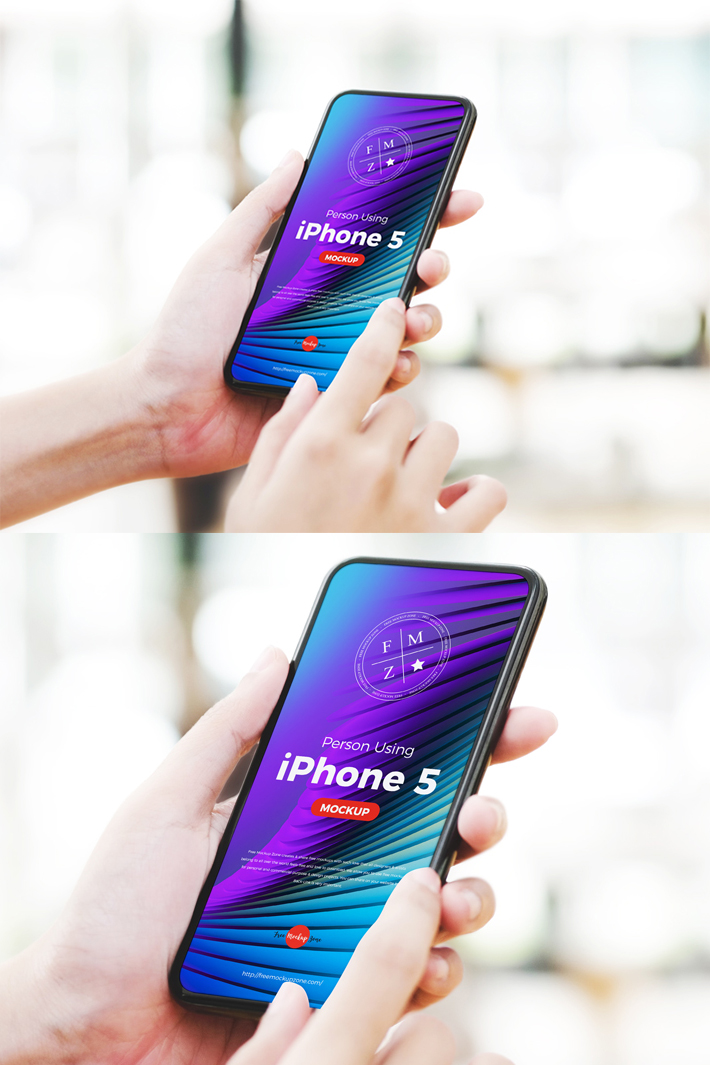 Attractive iPhone 5 in Hand PSD Mockup