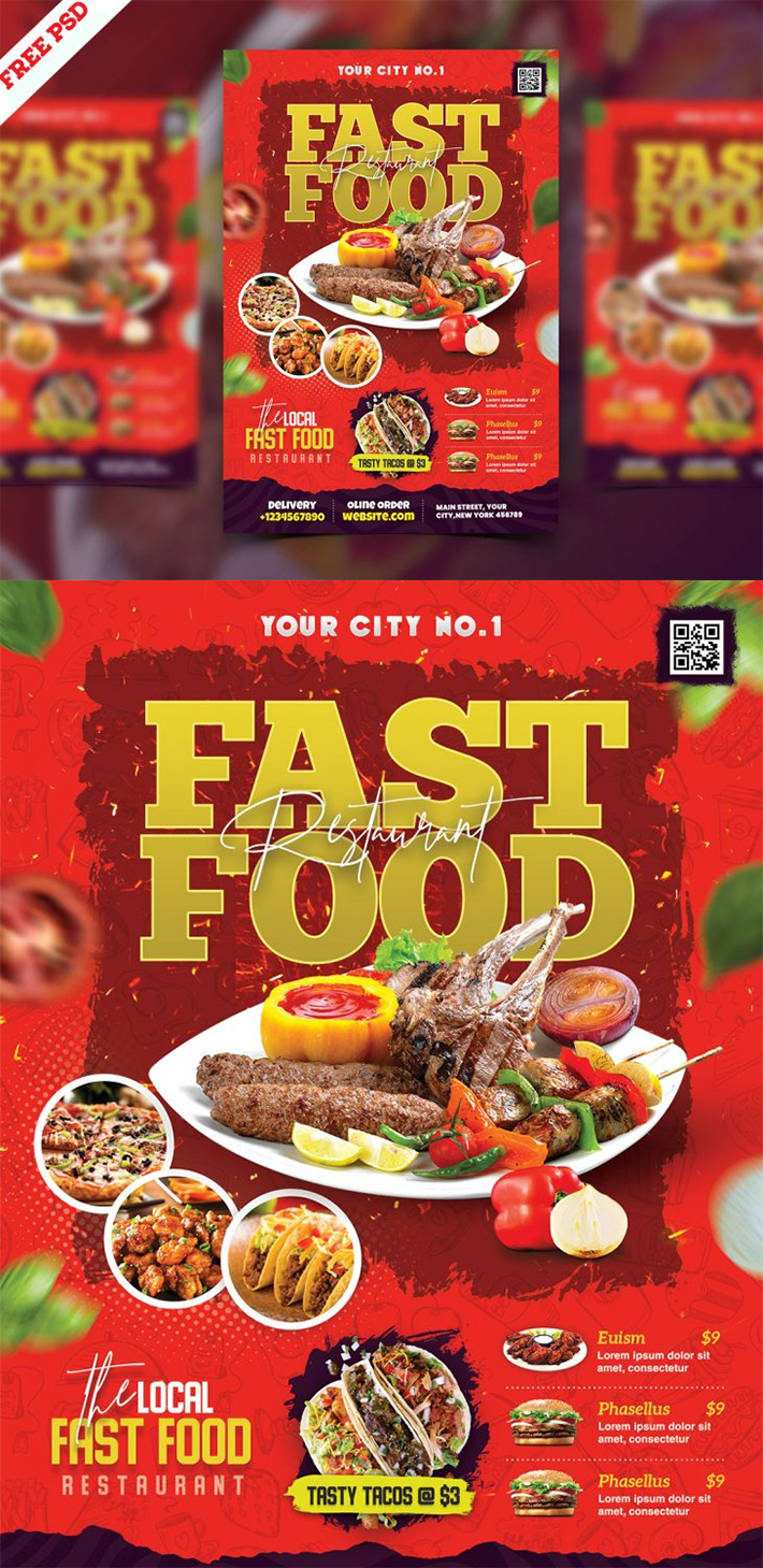 Free Creative Fast Food Restaurant Business Flyer PSD Template